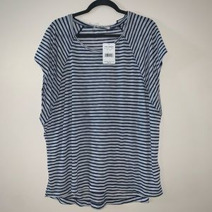 NWT Free People Blue / White Striped Oversized Tee